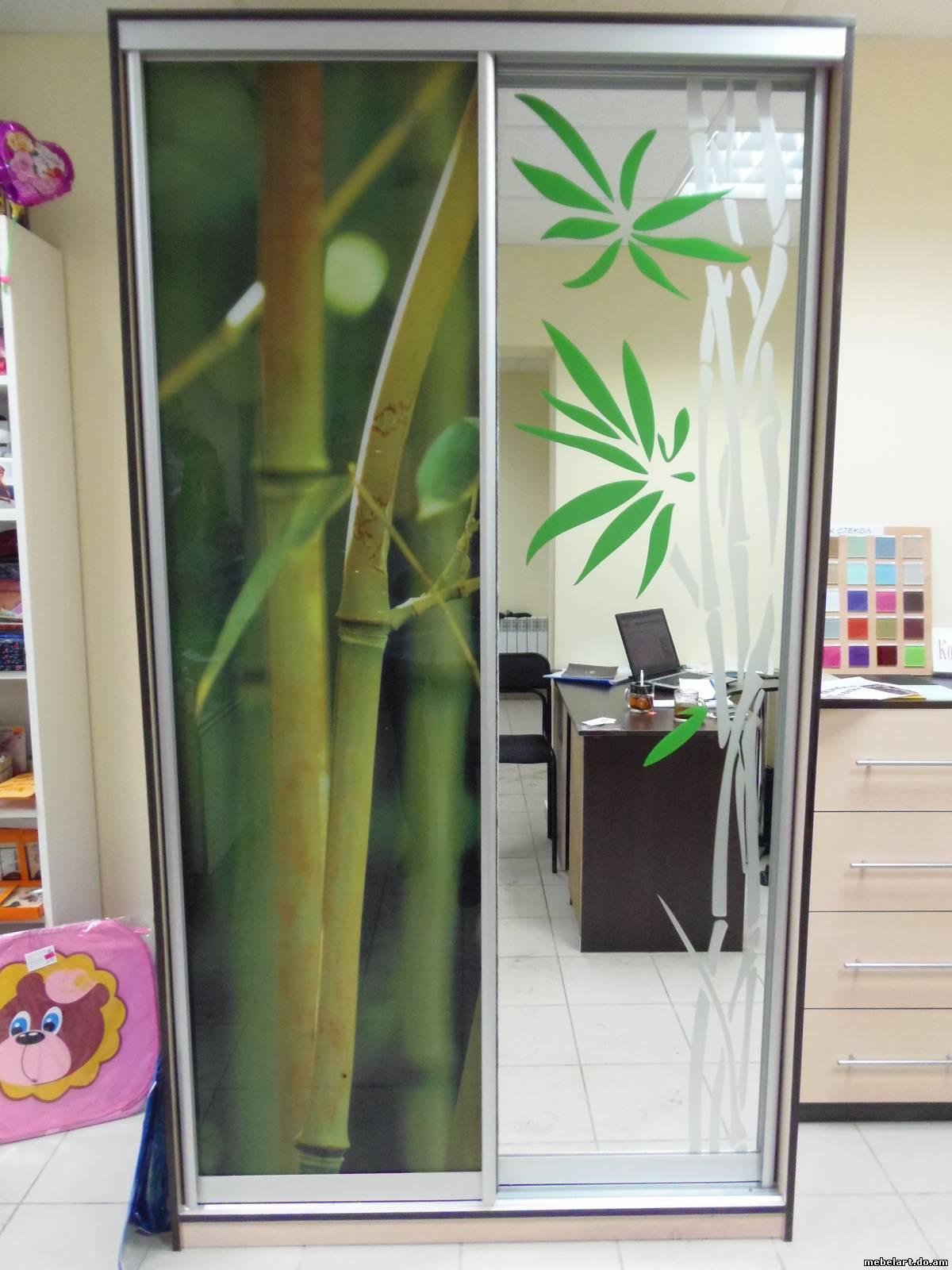 фотопечать на шкафах купе бамбук